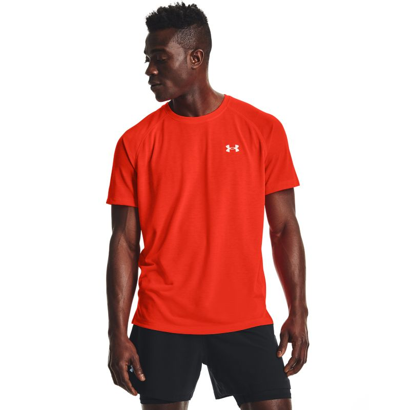 Red Under Armour men's running t-shirt with mesh panel from O'Neills.