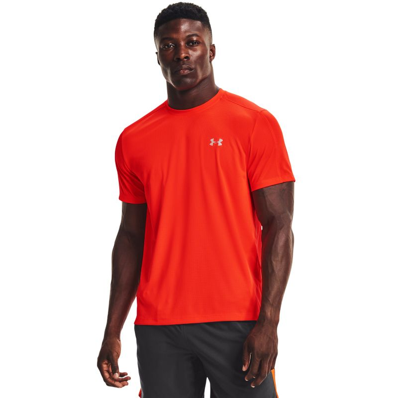 Orange Under Armour men's running t-shirt with reflective detail from O'Neills.
