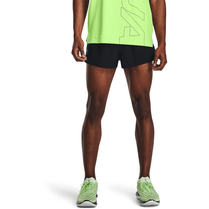 Black Under Armour men's running shorts with mesh liner from O'Neills.