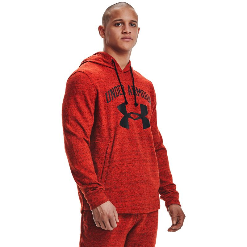Red Under Armour men's hoodie with printed logo and kangaroo pocket from O'Neills.