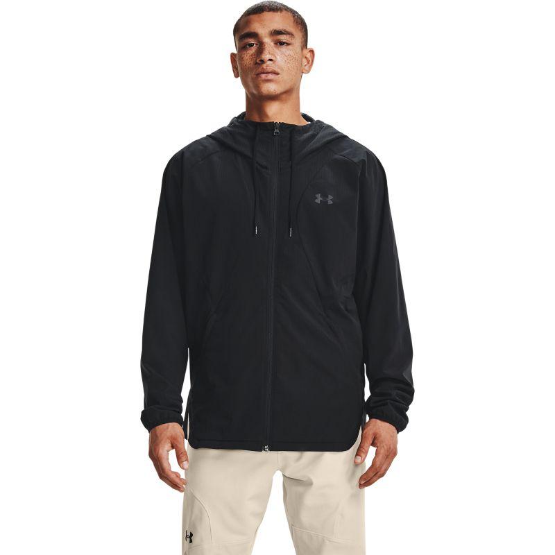 Black Under Armour men's full zip windbreaker rain jacket with hood from O'Neills.
