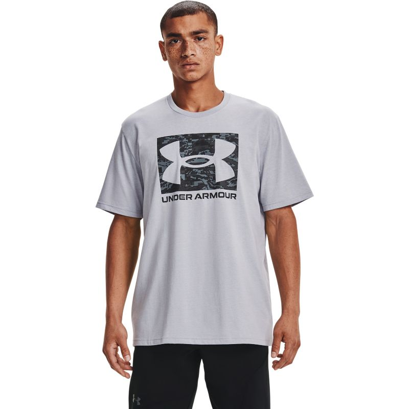 Grey Under Armour men's casual t-shirt with camouflage print from O'Neills.