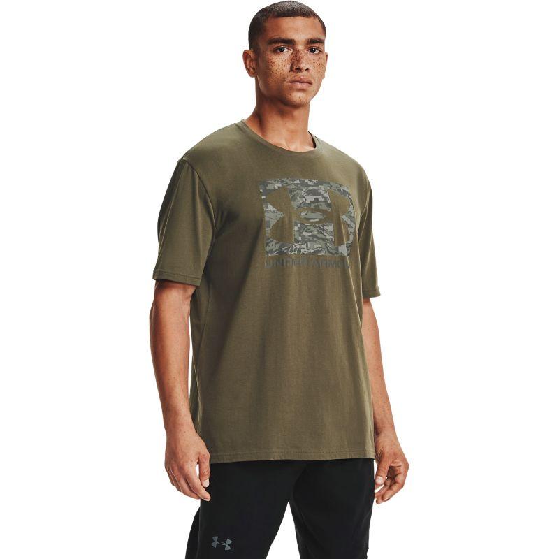 Green Under Armour men's t-shirt with camo print form O'Neills.