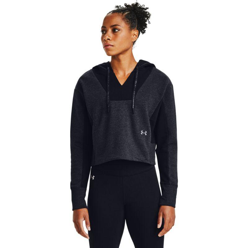 Under Armour Women's UA Rival Fleece EMB Hoodie Black Medium Heather / Black