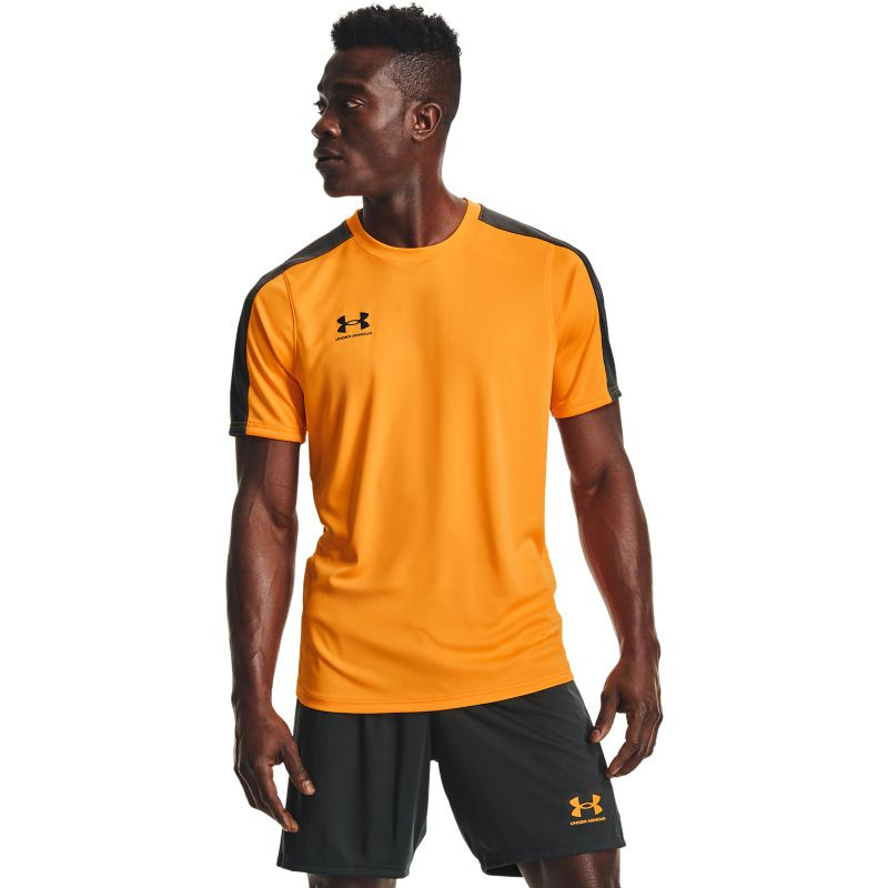 Orange Under Armour men's gym t-shirt with short sleeves from O'Neills.