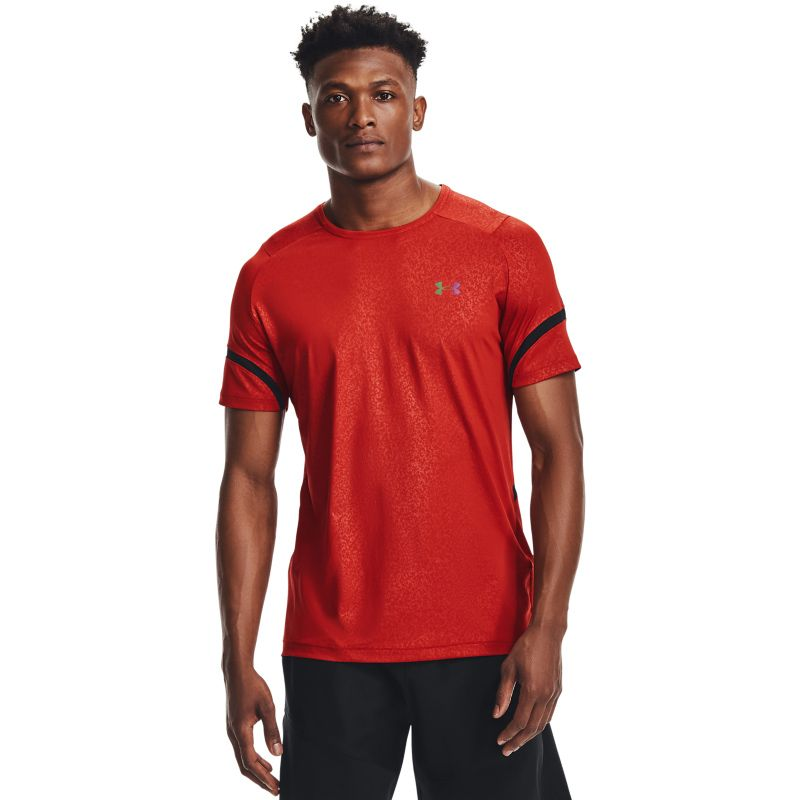 Red Under Armour men's gym t-shirt with short sleeves from O'Neills.