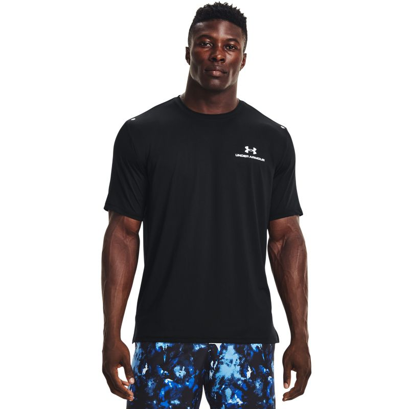 Black Under Armour men's gym t-shirt with reflective logo from O'Neills.
