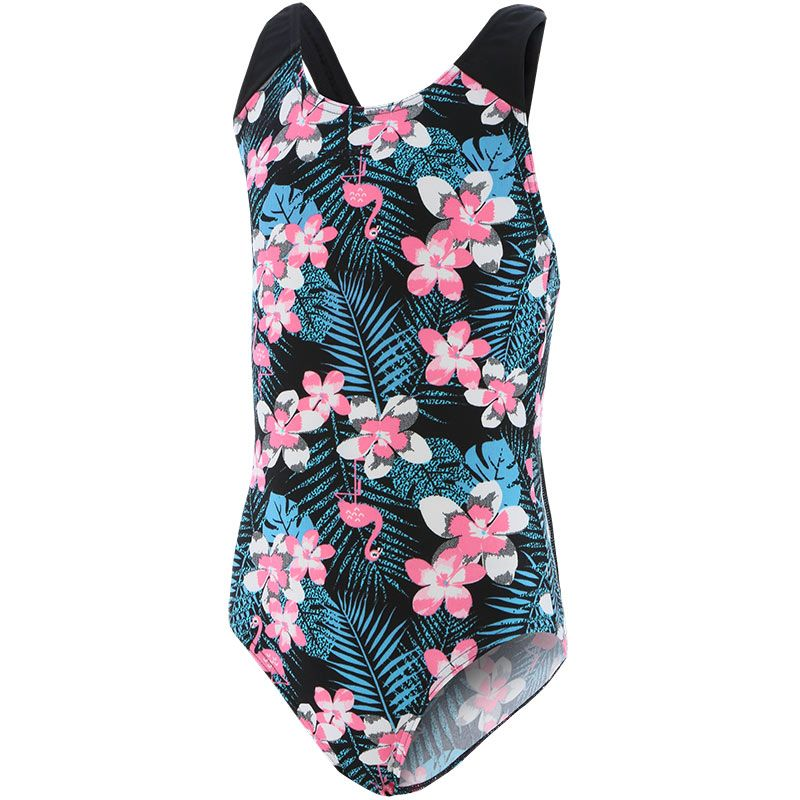 black, pink and white, Speedo kids' swimsuit in a splashback design from O'Neills