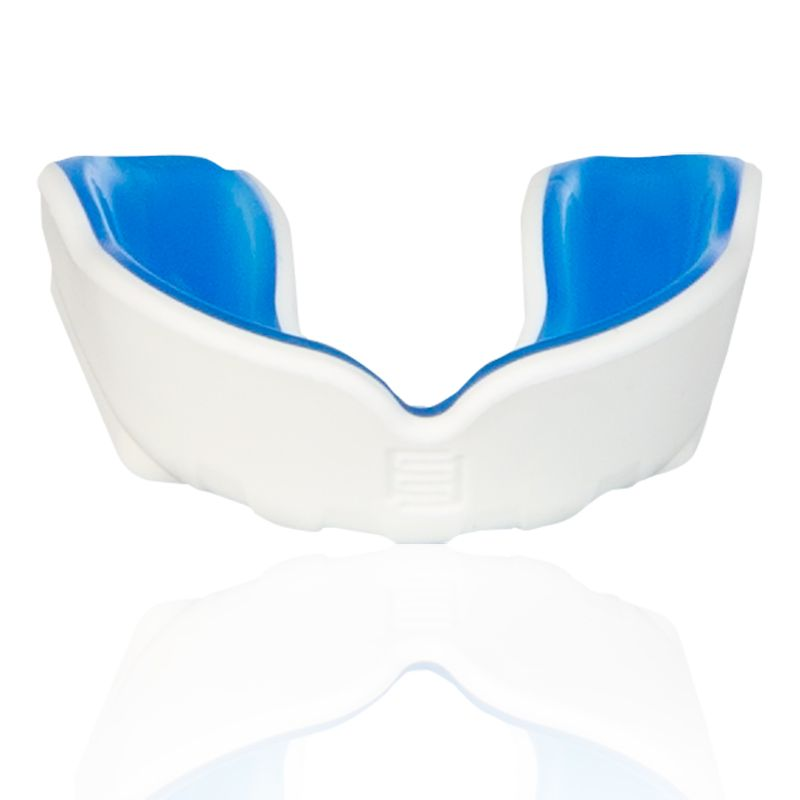 white and blue Makura mouthguard with a shokbloker outer from O'Neills
