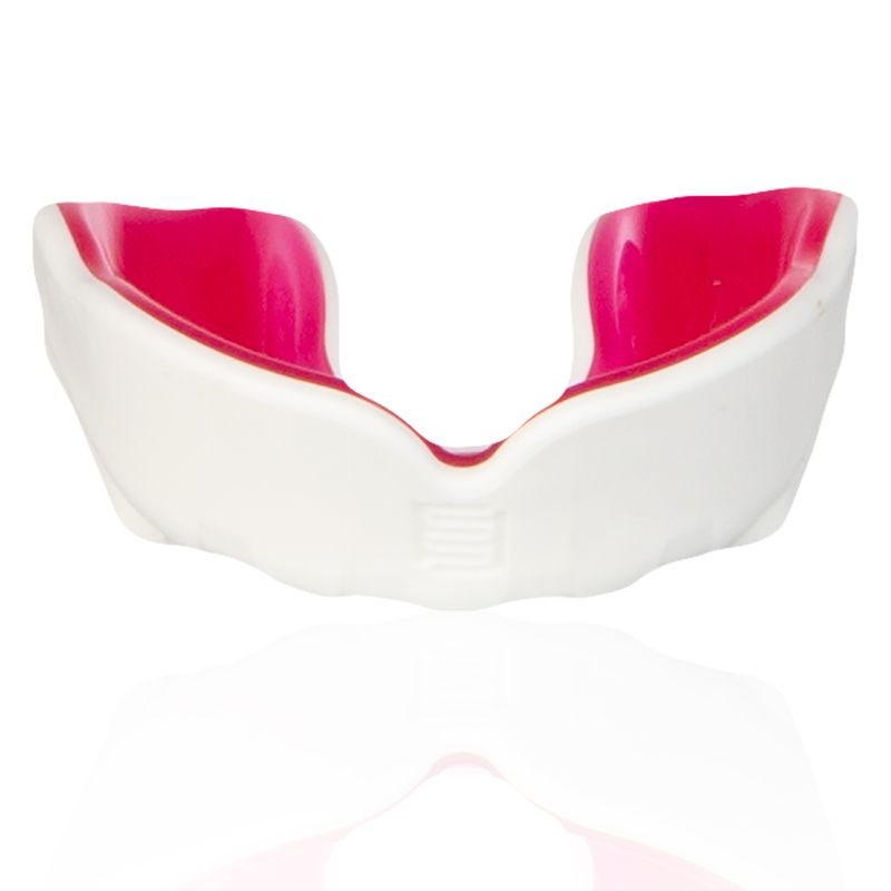 white and pink Makura mouthguard with a shokbloker outer from O'Neills