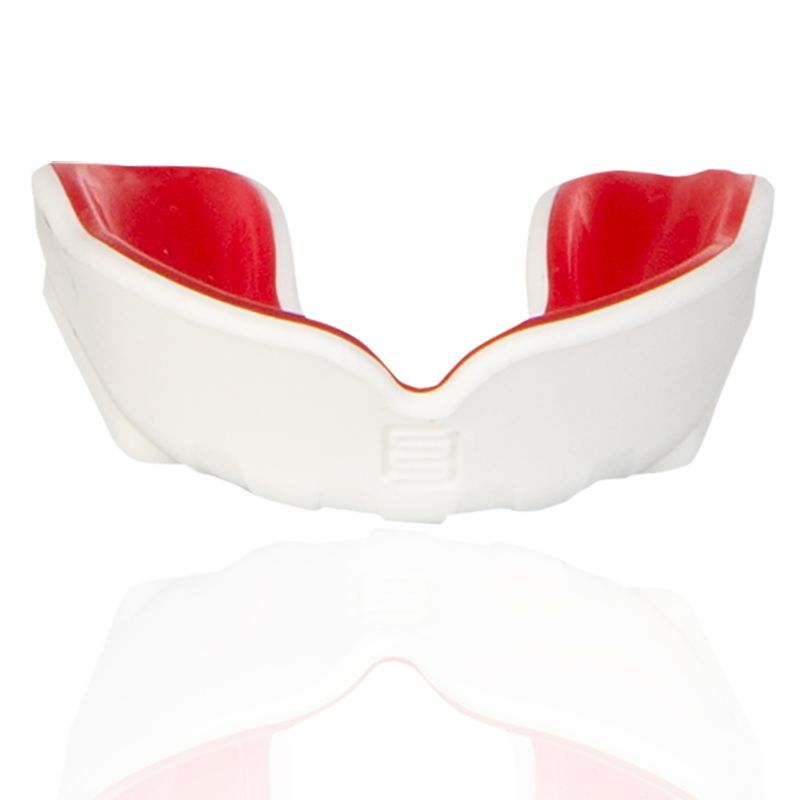 white and red Makura mouthguard with a shokbloker outer from O'Neills