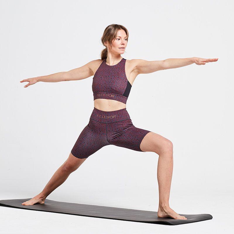 Purple leopard print Elle Sport yoga sports bra with racerback from O'Neills.