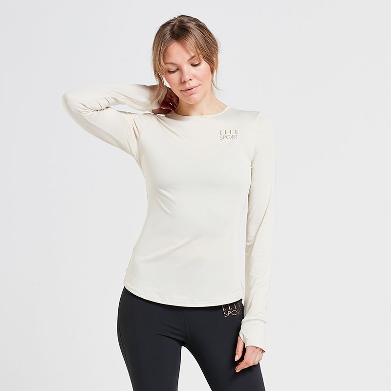 Cream Elle Sport women's long sleeve yoga top with thumb loops from O'Neills.
