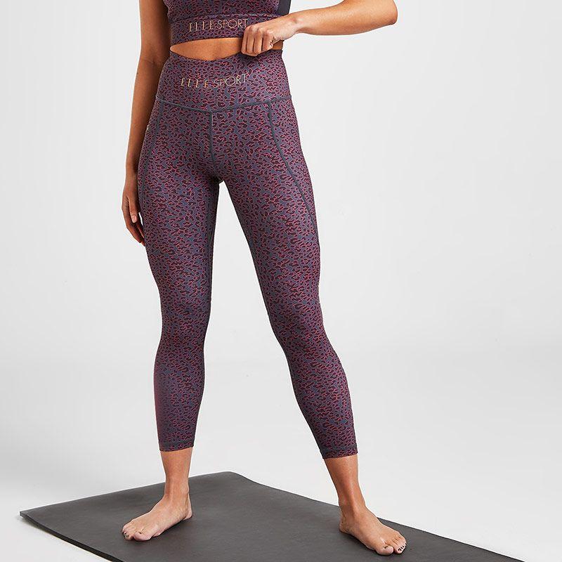 Purple leopard print Elle Sports women's yoga leggings with pockets from O'Neills.