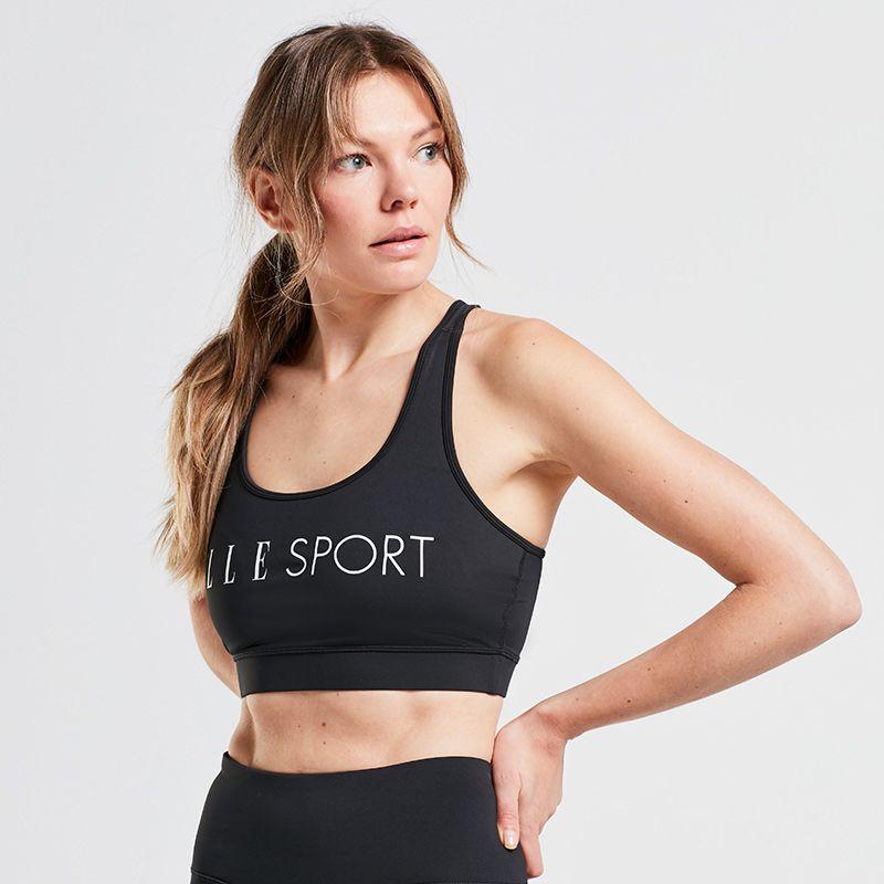 Black Elle Sport women's yoga sports bra with racer back design from O'Neills.