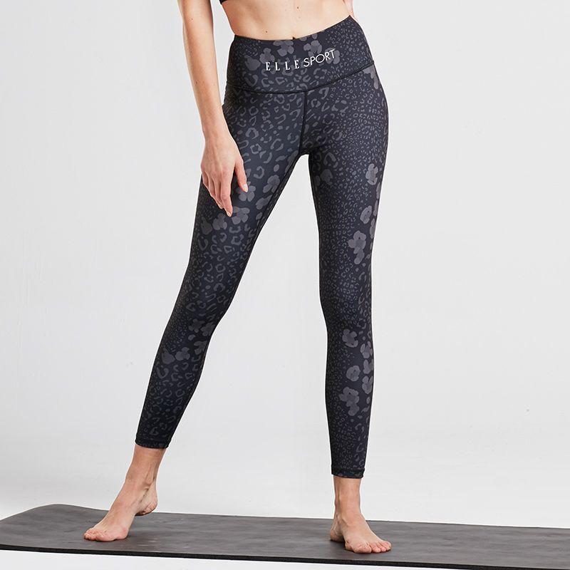 Black leopard print women's Elle Sport full length women's gym leggings from O'Neills.