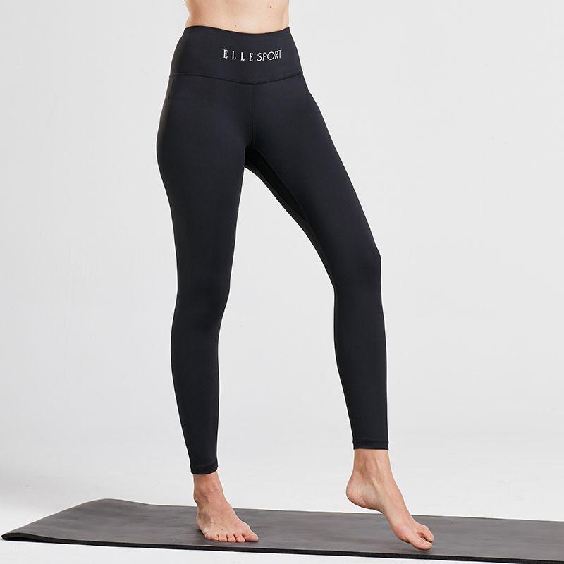 Black women's Elle Sport full length women's gym leggings with thick waistband from O'Neills.
