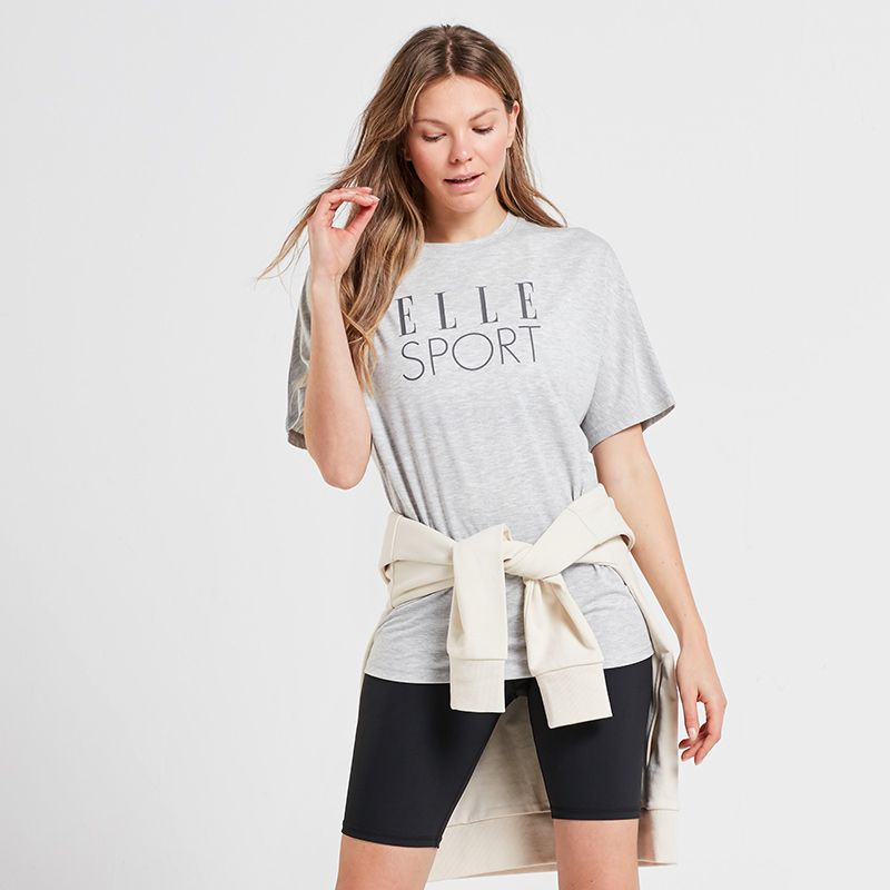 Grey Elle Sport women's casual oversized t-shirt with printed logo from O'Neills.