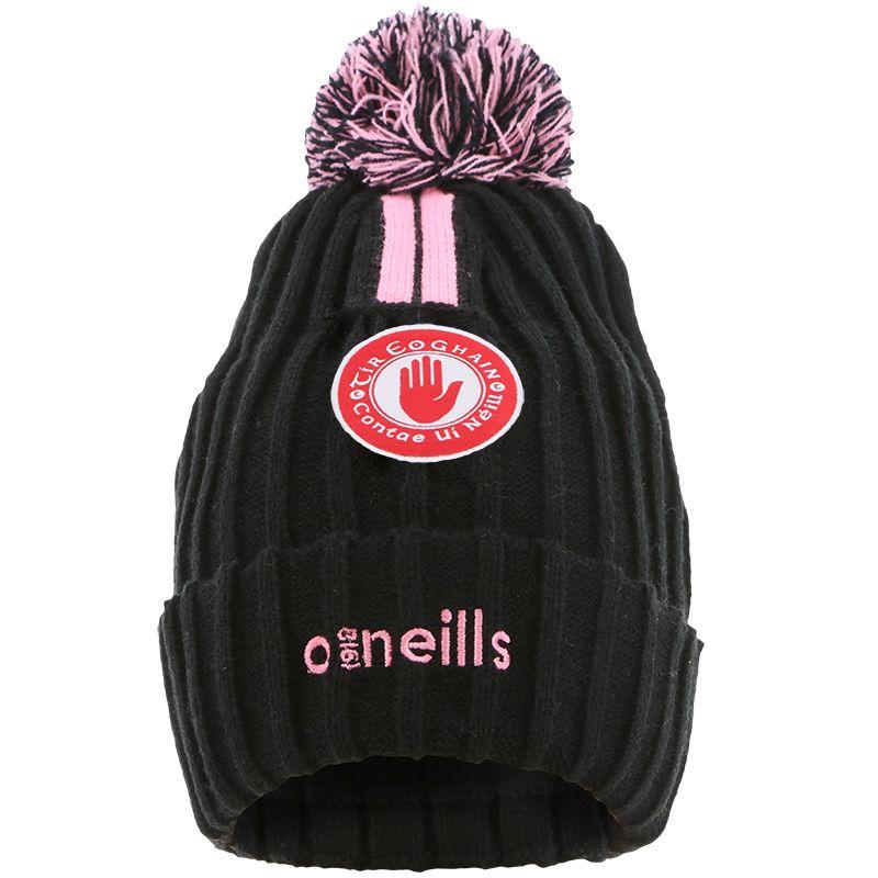 Tyrone GAA Portland 2 Stripe Bobble Hat Black / Pink