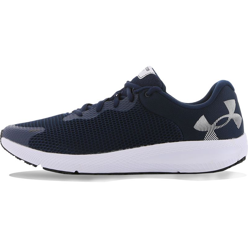 blue and white Under Armour men's runners, lightweight and breathable with foam padding around the ankle from O'Neills