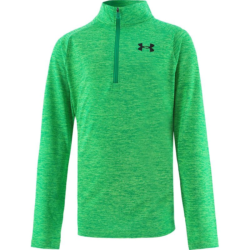 Green Under Armour kids boys half zip top with logo on left chest from O'Neills.