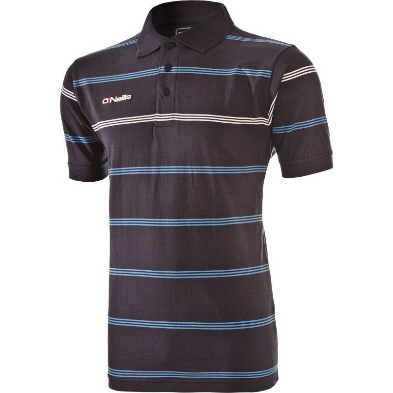 Kids' Vista Striped Polo Shirt Marine / Sky / White