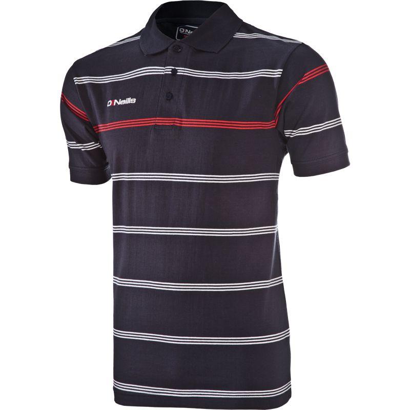 Kids' Vista Striped Polo Shirt Marine / Red / White