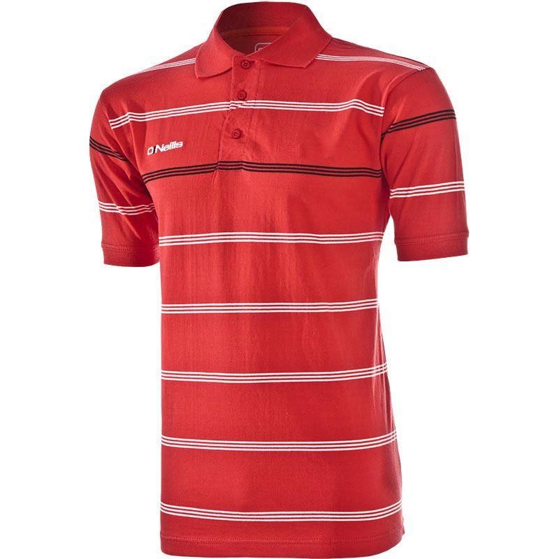 Men's Vista Striped Polo Shirt Red / White / Black