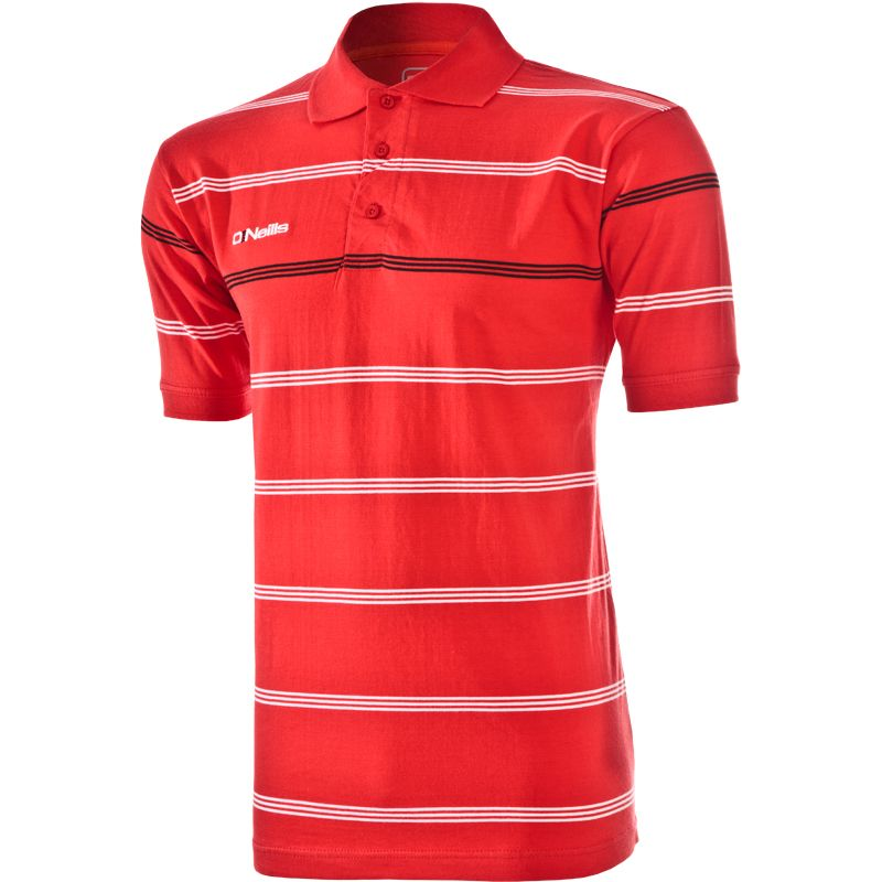 Kids' Vista Striped Polo Shirt Red / White / Black