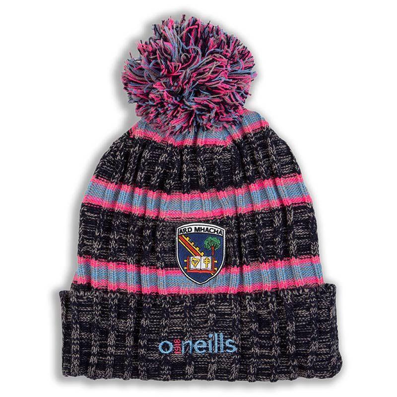 Armagh GAA Solar Striped Bobble Hat (Marl Marine Flo Pink Sky Blue) (Kids)   d00b62da0c4