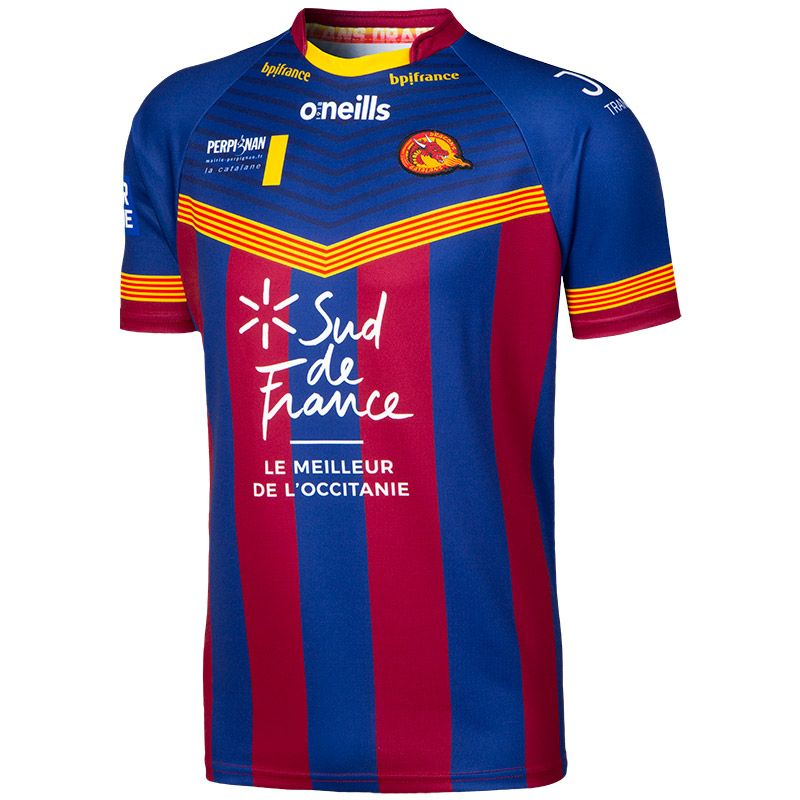 new product df1a4 5f921 Catalans Dragons Barcelona Crew Neck Rugby Jersey (Navy/Maroon/Amber)