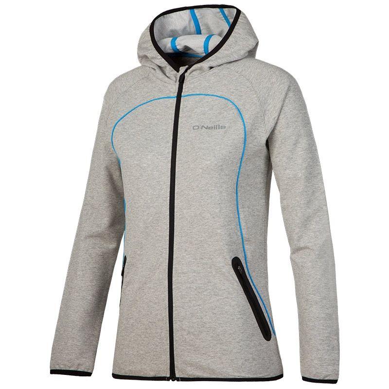 3dc9a4f5e843d8 Dakota Full Zip Fleece Hooded Jacket (Marl Light Grey/Black/Sw. Blue) |  oneills.com