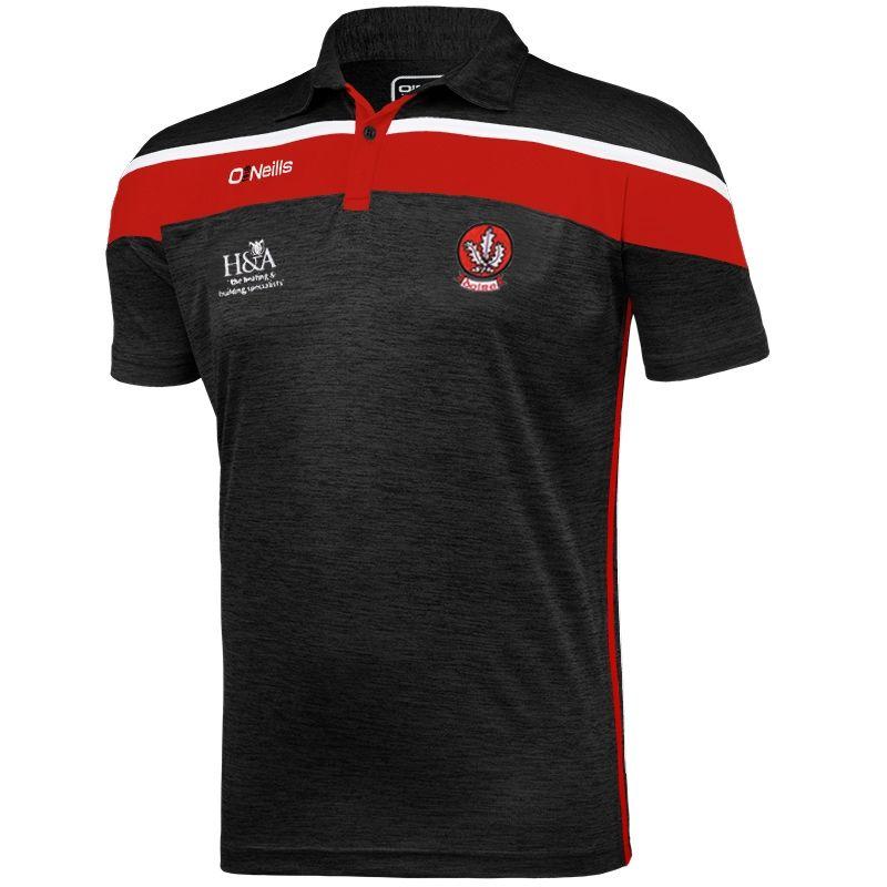 Derry GAA Slaney 2S Polo Shirt (Melange Black/Red/White