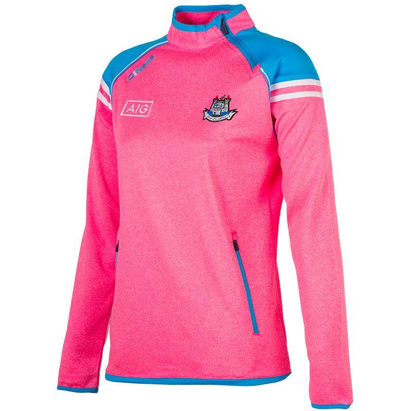 75f05c3b28889a Dublin GAA Abbey 2S Girls Side-Zip Squad Top (Marl Flo Pink Swedish  Blue White)
