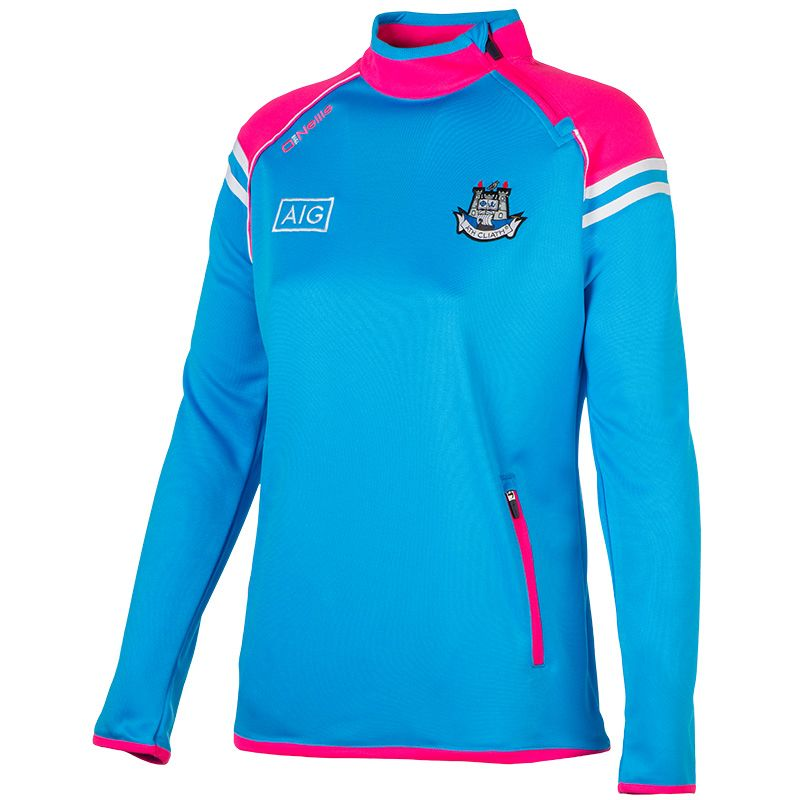 70fb2d934c5974 Dublin GAA Abbey 2S Girls Side-Zip Squad Top (Swedish Blue Flo Pink White)