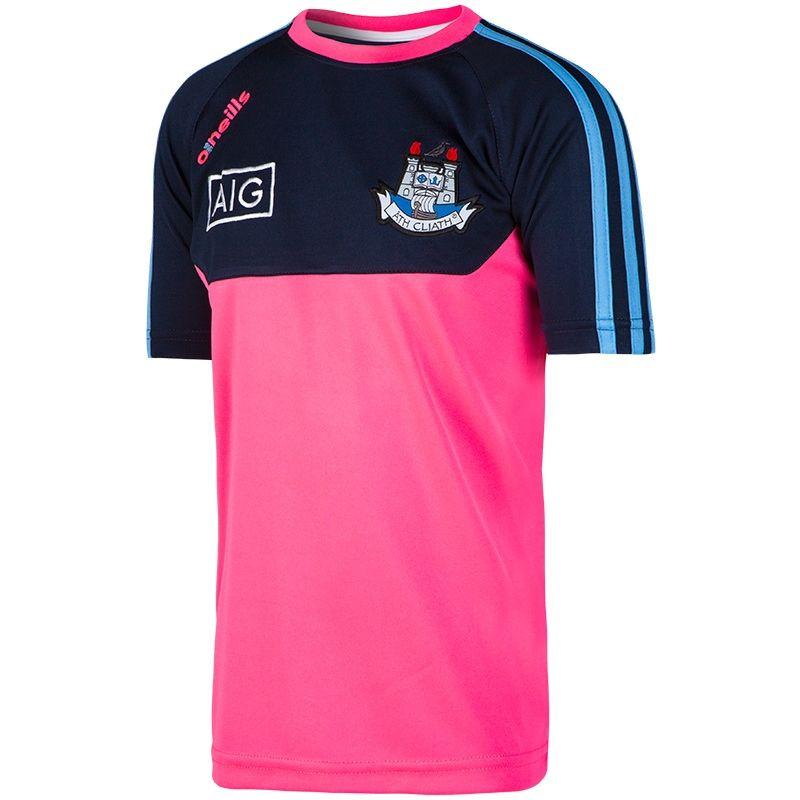 3d52e55c8edbea Dublin GAA Kasey 3S T-Shirt (Flo Pink Marl Marine Sky) (Kids ...