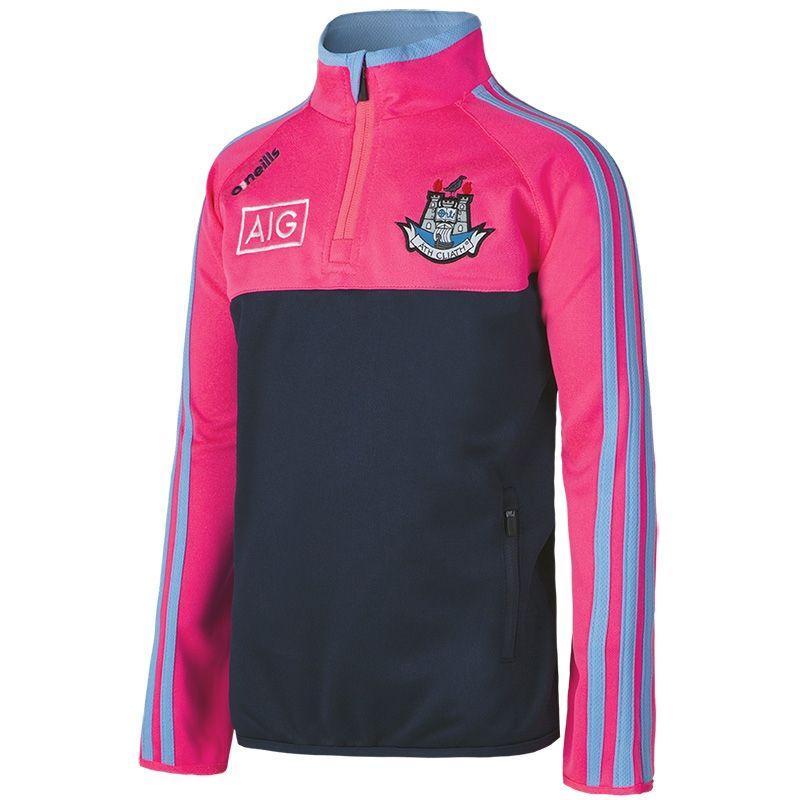 674dcaf2946af9 Dublin GAA Kasey 3S Half Zip Squad Top (Marine Flo Pink Sky) (Kids ...