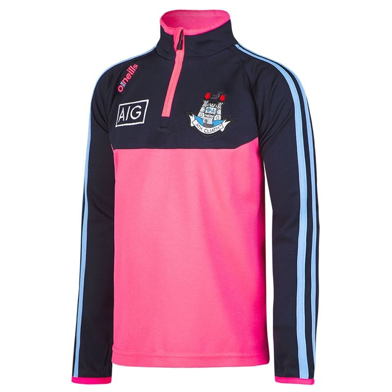 5ccaa48730a46a Dublin GAA Kasey 3S Half Zip Mid Layer Top (Flo Pink Marl Marine Sky)  (Kids)