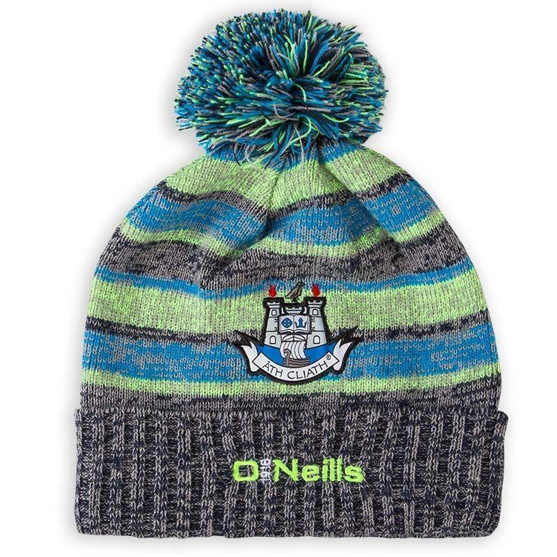 007e10a032102 Dublin GAA Temple Bobble Fleece Lined Hat (Marine Neon Lime Swedish Blue)