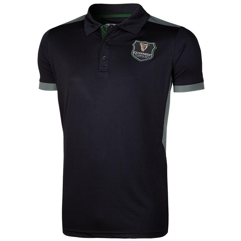 3a9e4c71 Guinness Performance Polo Shirt Harp Badge (Black/Grey)   oneills.com