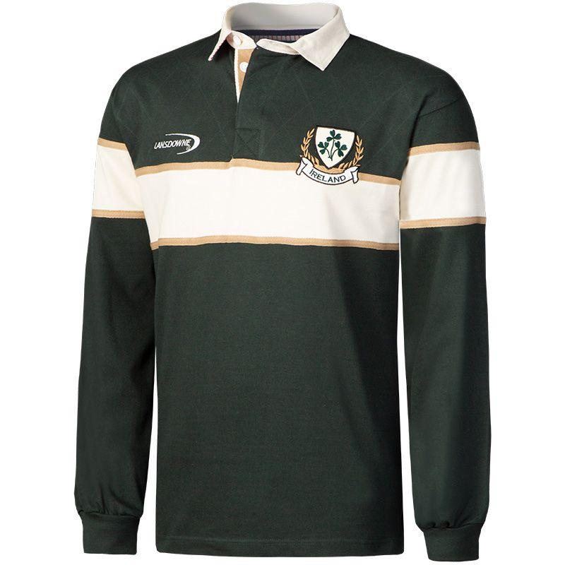 online retailer 4307f ced90 Lansdowne Ireland Men's Pique Long Sleeve Polo Shirt Bottle / Beige / Cream