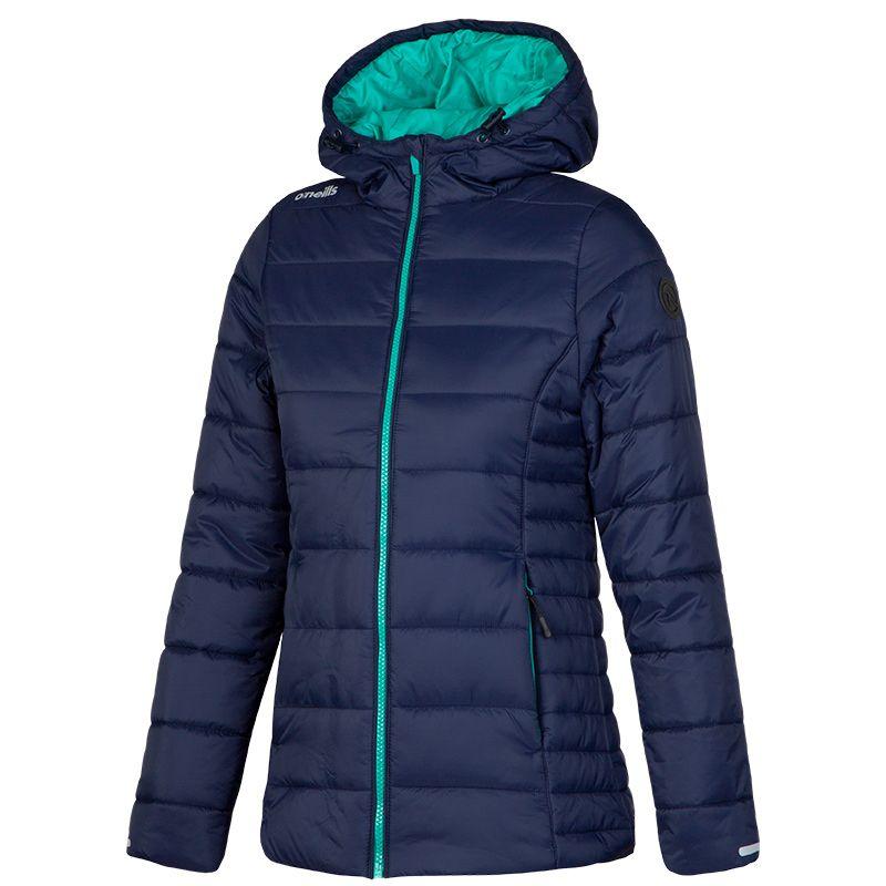 5f34995a4bae83 Monroe Womens Hooded Padded Jacket (Marine/Peacock Green) | oneills.com -  International